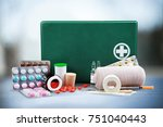 first aid kit  with medical... | Shutterstock . vector #751040443