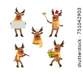 set of funny christmas reindeer ... | Shutterstock .eps vector #751042903