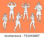 vector cartoon muscular strong... | Shutterstock .eps vector #751043887