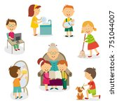 children at home   using... | Shutterstock .eps vector #751044007