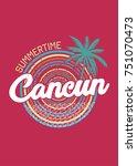 cancun summertime circle palm... | Shutterstock .eps vector #751070473