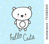 cute hand drawn postcard with... | Shutterstock .eps vector #751083343