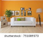 orange scandinavian room... | Shutterstock . vector #751089373