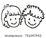 head  girl and boy  doodle ... | Shutterstock .eps vector #751097953