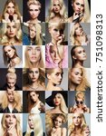 beauty fashion collage.faces of ... | Shutterstock . vector #751098313