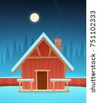 red wooden cabin covered with... | Shutterstock .eps vector #751102333