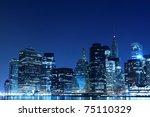 manhattan skyline at night  new ... | Shutterstock . vector #75110329