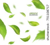 blurred fresh flying green... | Shutterstock . vector #751108717