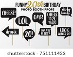set of funny twenty birthday... | Shutterstock .eps vector #751111423