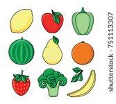 vector flat sketch style fresh... | Shutterstock .eps vector #751113307