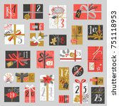 christmas advent calendar  hand ... | Shutterstock .eps vector #751118953