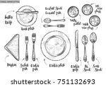 table setting  top view. vector ...