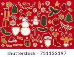 set of hand drawn christmas... | Shutterstock .eps vector #751133197