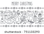 christmas vector hand drawn... | Shutterstock .eps vector #751133293