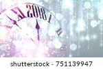 2018 new year lilac shining... | Shutterstock .eps vector #751139947