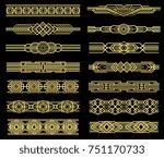 art deco line borders set in... | Shutterstock . vector #751170733