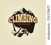 vintage mountane climbling logo ... | Shutterstock . vector #751170877