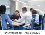 group of a young business... | Shutterstock . vector #751180327