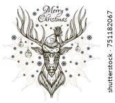 beautiful deer in a santa claus ... | Shutterstock .eps vector #751182067