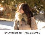 amazing cute woman in winter | Shutterstock . vector #751186957