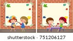 two border templates with kids... | Shutterstock .eps vector #751206127