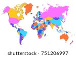 color world map vector | Shutterstock .eps vector #751206997