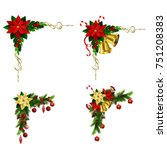 christmas corner decoration for ... | Shutterstock .eps vector #751208383