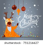 merry christmas greeting card... | Shutterstock .eps vector #751216627