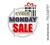 cyber monday. abstract poster.... | Shutterstock . vector #751218757