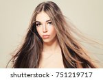 glamorous woman with natural... | Shutterstock . vector #751219717