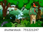 rainforest with animals vector... | Shutterstock .eps vector #751221247