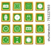 time and clock icons set in...