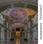 Small photo of Admont, Austria, October 2017: Admont Abbey Library, part of Benedictine monastery in Styria. The library of Admont Abbey is one of the largest all-embracing creations of the late European Baroque.