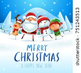 merry christmas  happy... | Shutterstock .eps vector #751243513