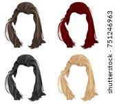 set of trendy stylish long man... | Shutterstock .eps vector #751246963