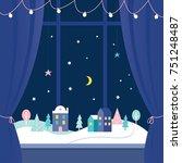 winter holidays window...   Shutterstock .eps vector #751248487