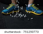 falling pills with sport shoes  ... | Shutterstock . vector #751250773