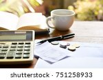 calculate bill account on table ... | Shutterstock . vector #751258933