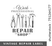 repair label isolated on white... | Shutterstock .eps vector #751264177