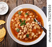vegetarian minestrone soup with ... | Shutterstock . vector #751278103