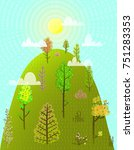 hill or mountain summer with... | Shutterstock .eps vector #751283353