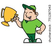 man holding a trophy cartoon... | Shutterstock .eps vector #751287043
