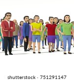 crowd of people 3d facing camera | Shutterstock . vector #751291147
