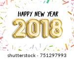 happy new year 2018 joy... | Shutterstock . vector #751297993