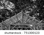 abstract outdoor wooden canopy... | Shutterstock . vector #751300123