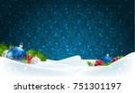blue christmas background with... | Shutterstock .eps vector #751301197