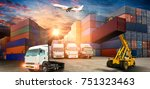 logistics and transportation of ... | Shutterstock . vector #751323463