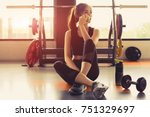woman exercise workout in gym...   Shutterstock . vector #751329697