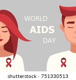worlds aids day card 1 december.... | Shutterstock .eps vector #751330513
