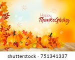 happy thanksgiving background... | Shutterstock .eps vector #751341337
